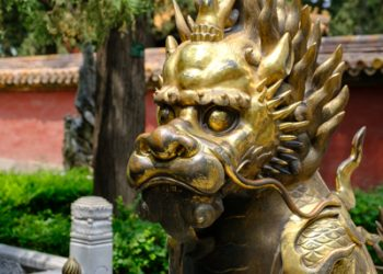 Bronzen leeuw in de verboden stad